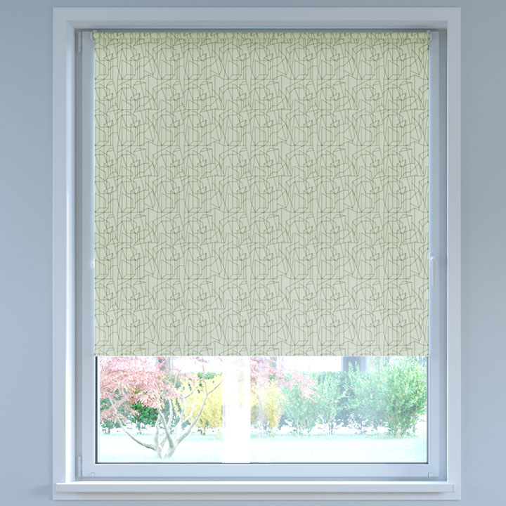 Blackout Digital Print No Drill Standard Roller Blind, Zigzag White