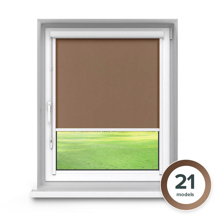 Darkening PVC PureNight Premium Roller Blind, Brown