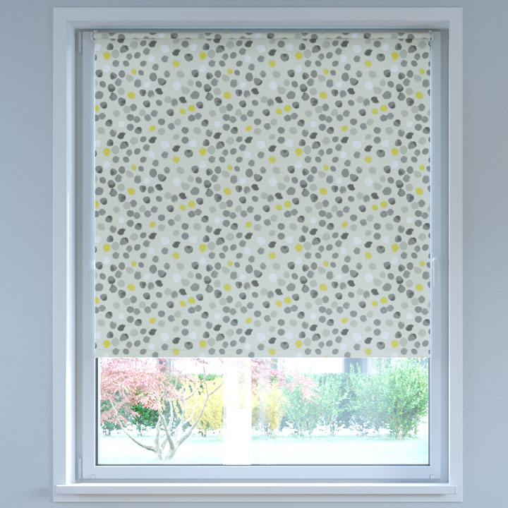 Blackout Digital Print No Drill Standard Roller Blind, Dots Yellow-grey