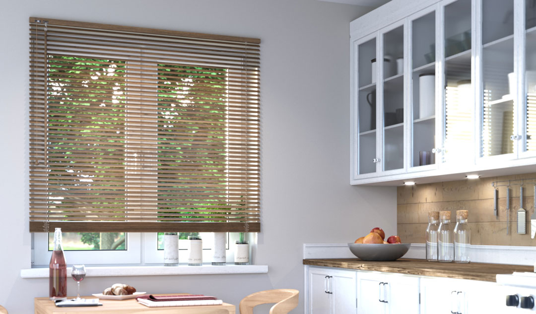 faux wood blinds in kitchen