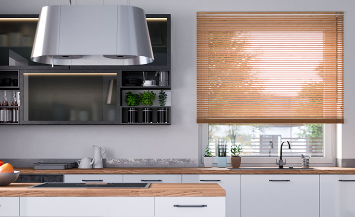 wooden blinds for kitchen