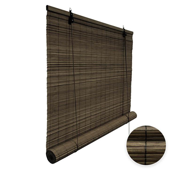 Bamboo Roller Blind Ready Made, Dark Brown