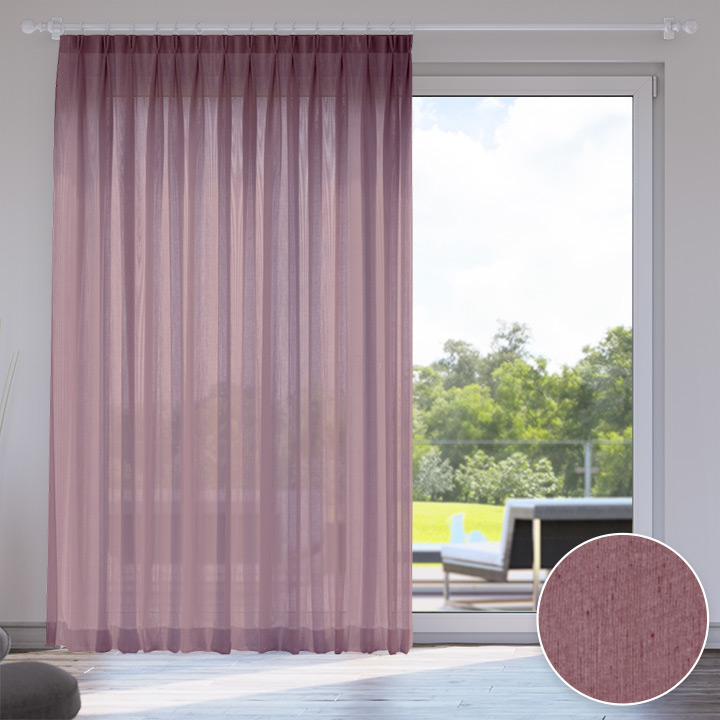 Voile Made to Measure Livani Curtain, Plum Jam