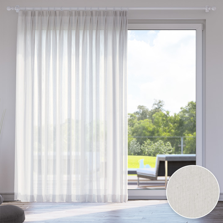 Voile Made to Measure Livani Curtain, Light grey
