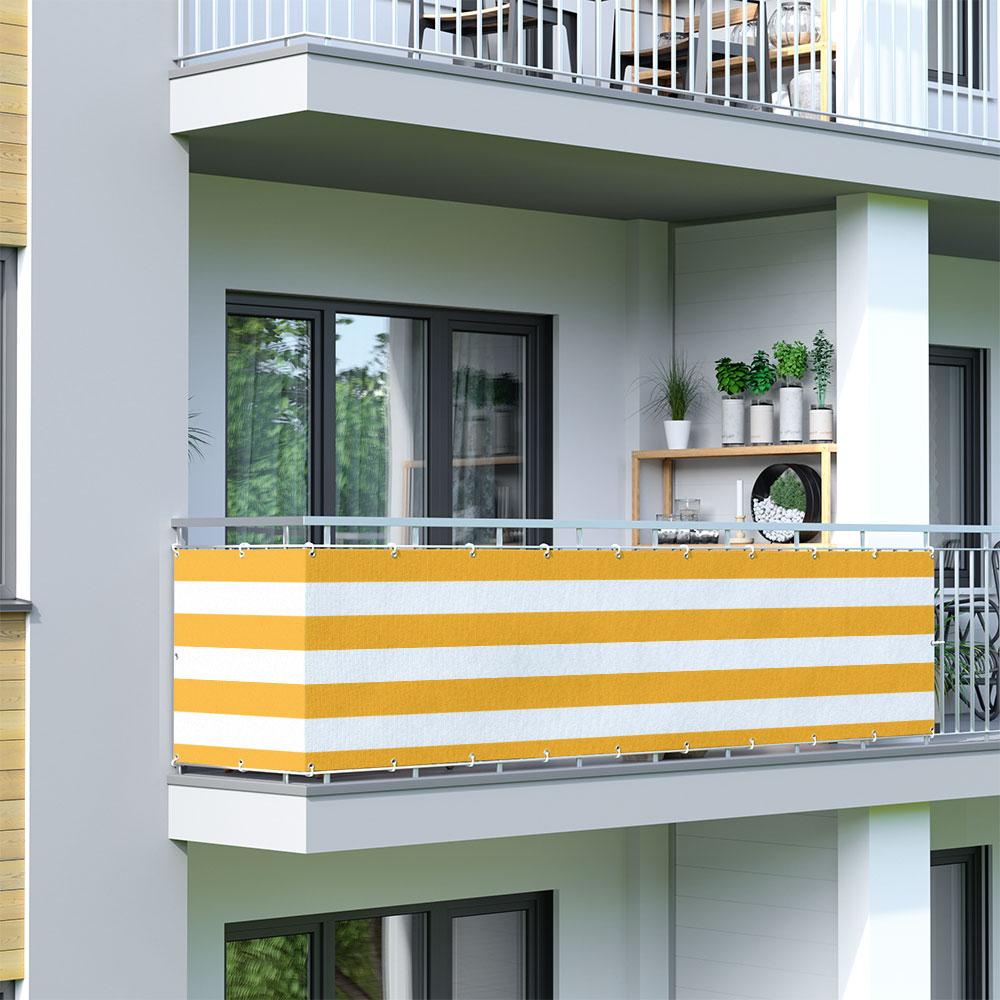 Balcony Screen, Sunshade, Yellow-White