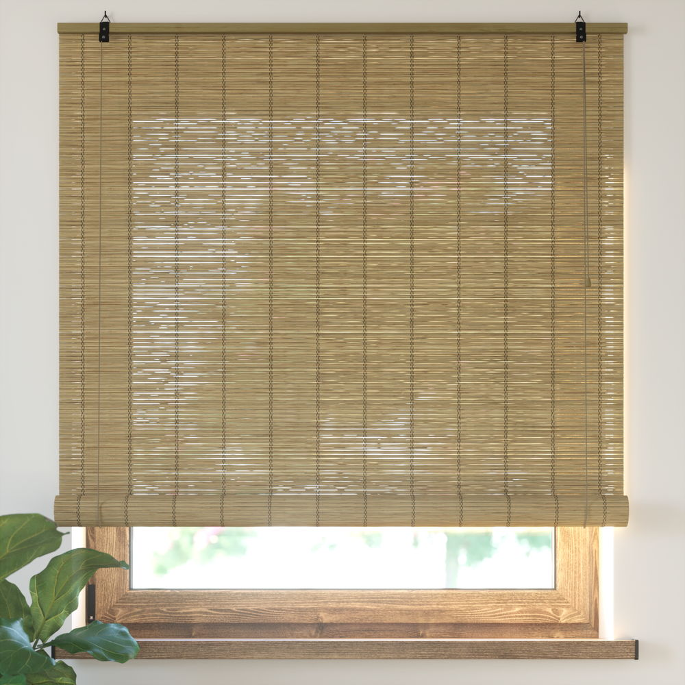 Bamboo Roller Blind Ready Made, Brown