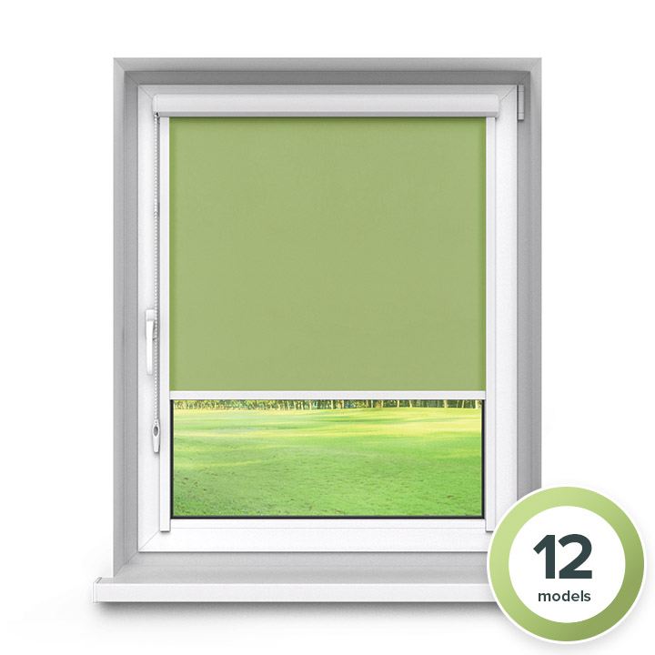 Darkening PVC PureNight Premium Roller Blind, Green