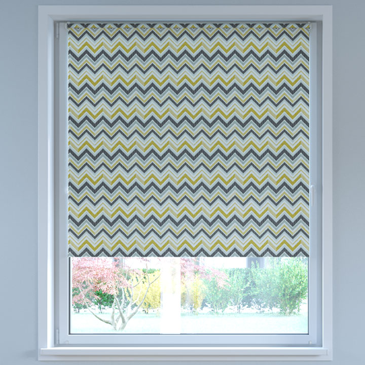 Blackout Digital Print No Drill Standard Roller Blind, Ethno Yellow