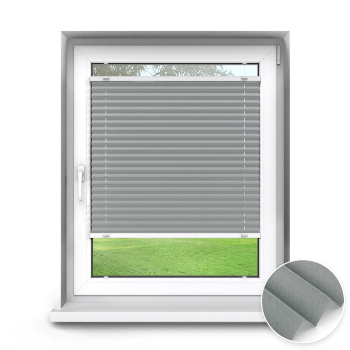 Trimmed to size Standard Pleated Blind, Grey