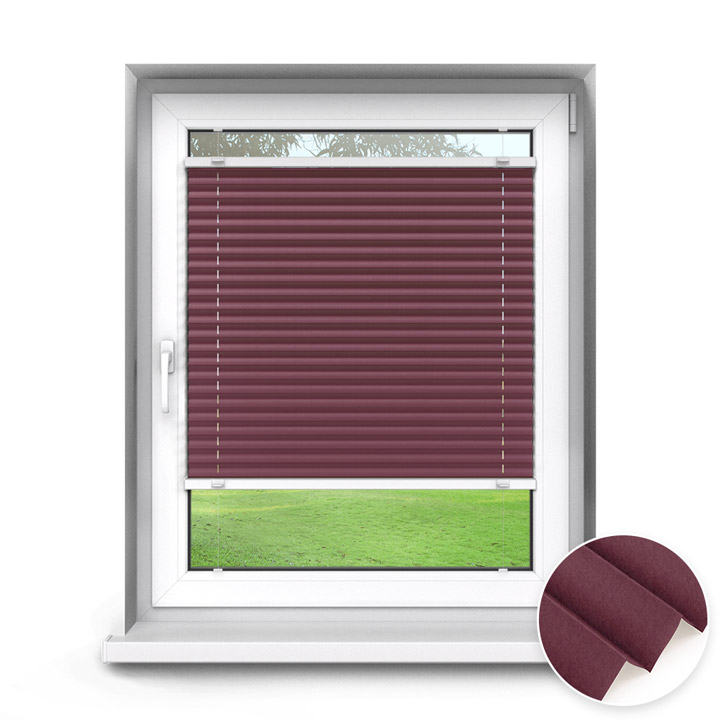 Trimmed to size Standard Pleated Blind, Burgundy