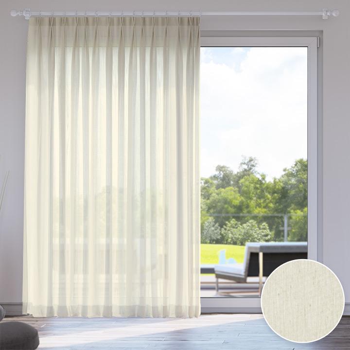 Voile Made to Measure Livani Curtain, Vanilla Cream