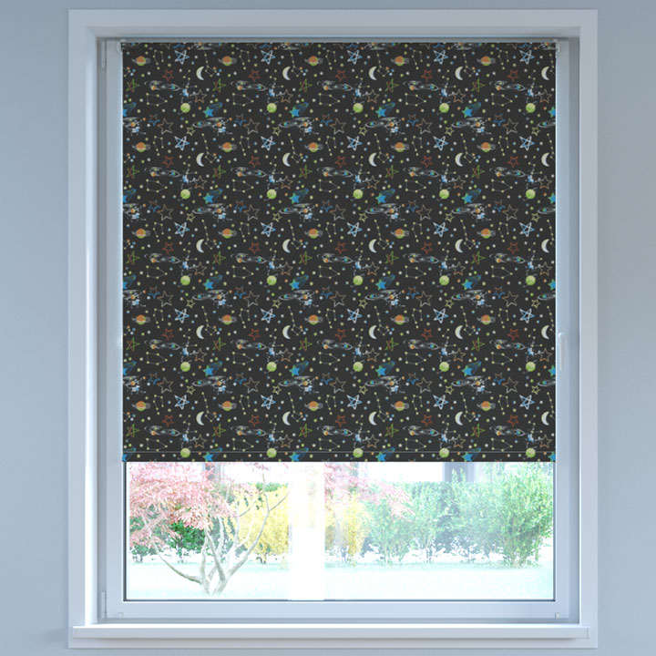 Blackout Digital Print No Drill Standard Roller Blind, Cosmos