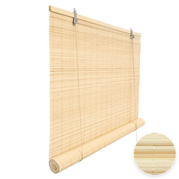 Bamboo Roller Blind Ready Made, Natural