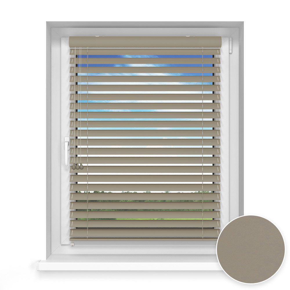50 mm slat Wooden Blind, Poppy seed
