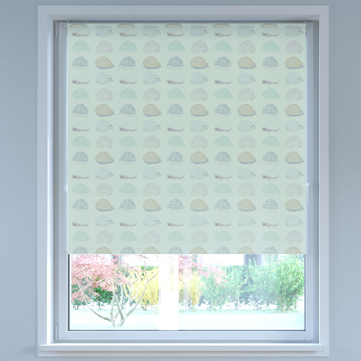 Blackout Digital Print No Drill Standard Roller Blind, Pastel Hedgehog