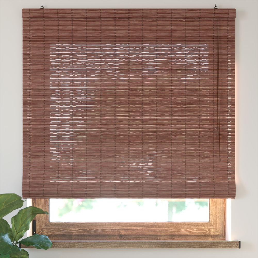 Bamboo Roman Roller Blind Ready Made, Cherry