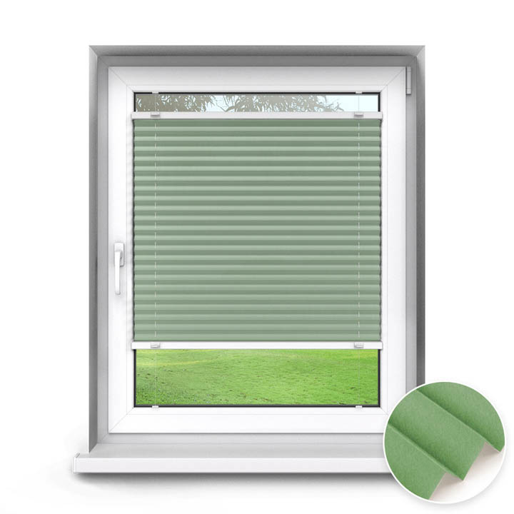 Trimmed to size Standard Pleated Blind, Sumire Green