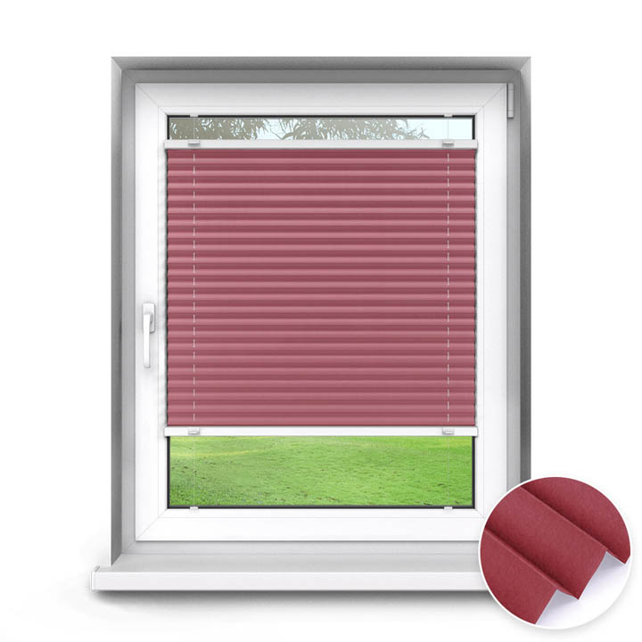 Trimmed to size Standard Pleated Blind, Sumire Crimson