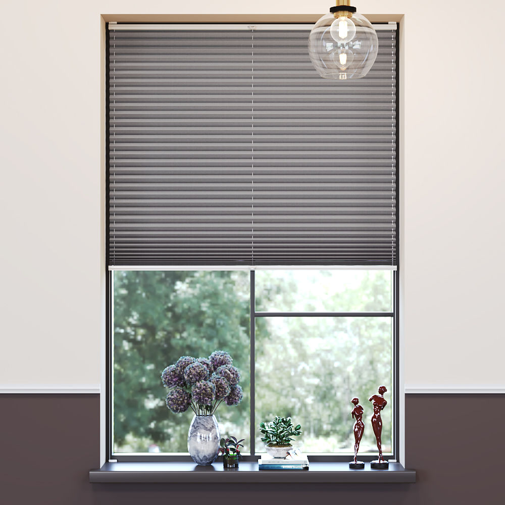 Blackout Premium Pleated Blind, Lily Ash Grey