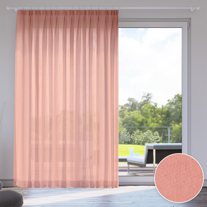 Voile Made to Measure Livani Curtain, Living Coral