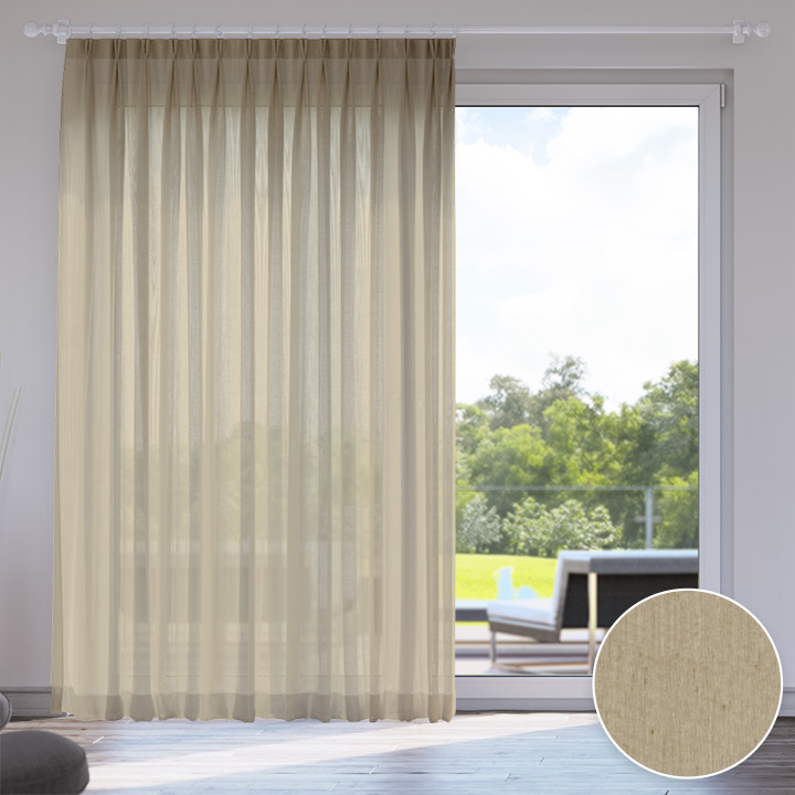 Voile Made to Measure Livani Curtain, Hazelnut