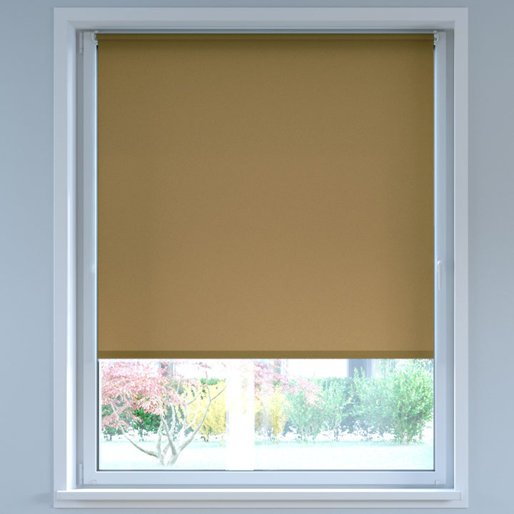 Darkening No Drill Roller Blind, Siena Brown