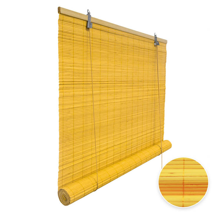 Bamboo Roller Blind Ready Made, Yellow