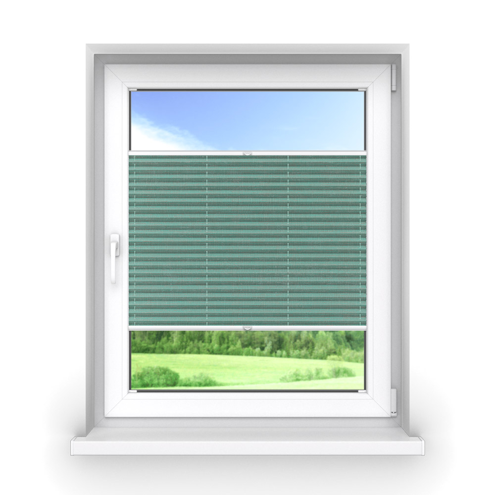 Transparent Premium Pleated Blind, Ines Turquoise