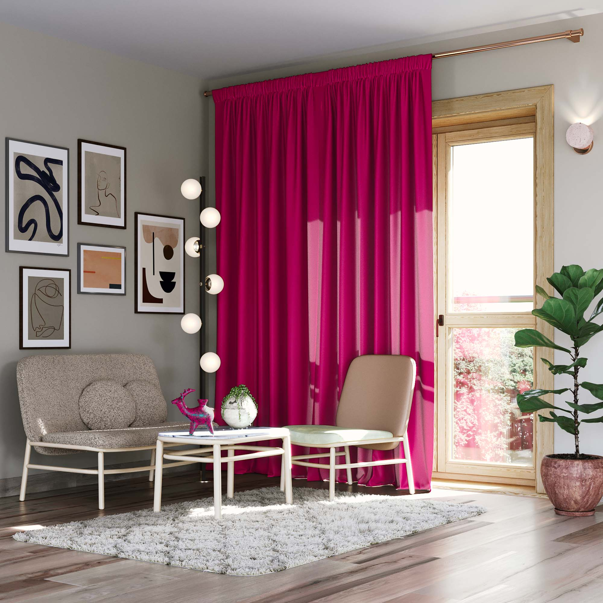 Pencil Pleat Darkening Curtain, Fuchsia