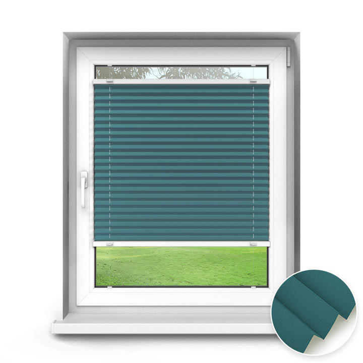 Trimmed to size Standard Pleated Blind, Teal
