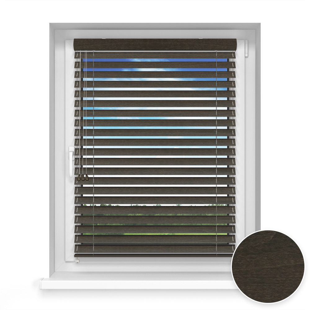 50 mm slat Wooden Blind, Truffle