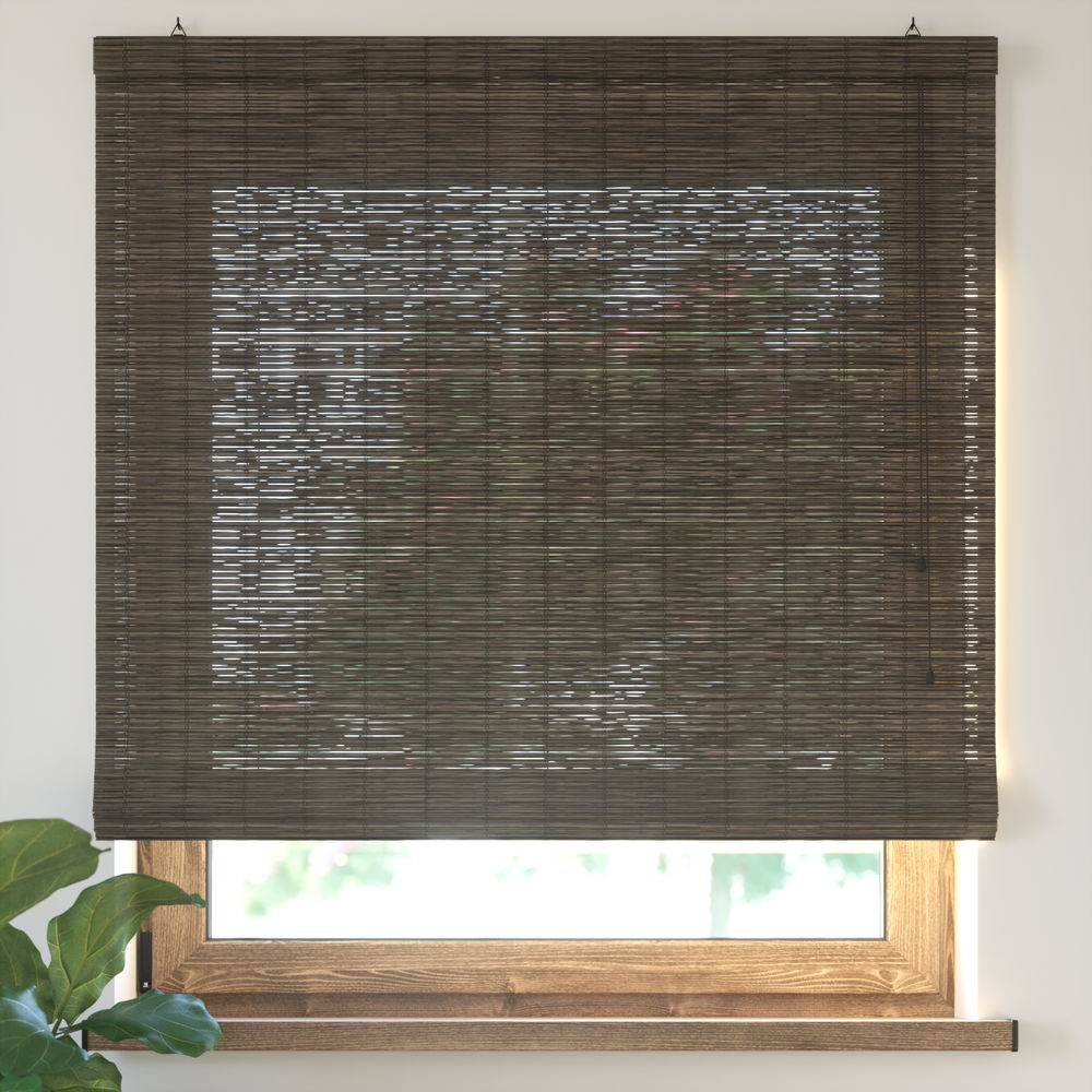 Bamboo Roman Roller Blind Ready Made, Dark Brown