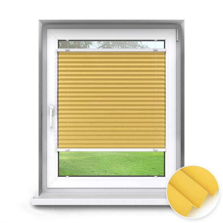 Trimmed to size Standard Pleated Blind, Carla Yellow