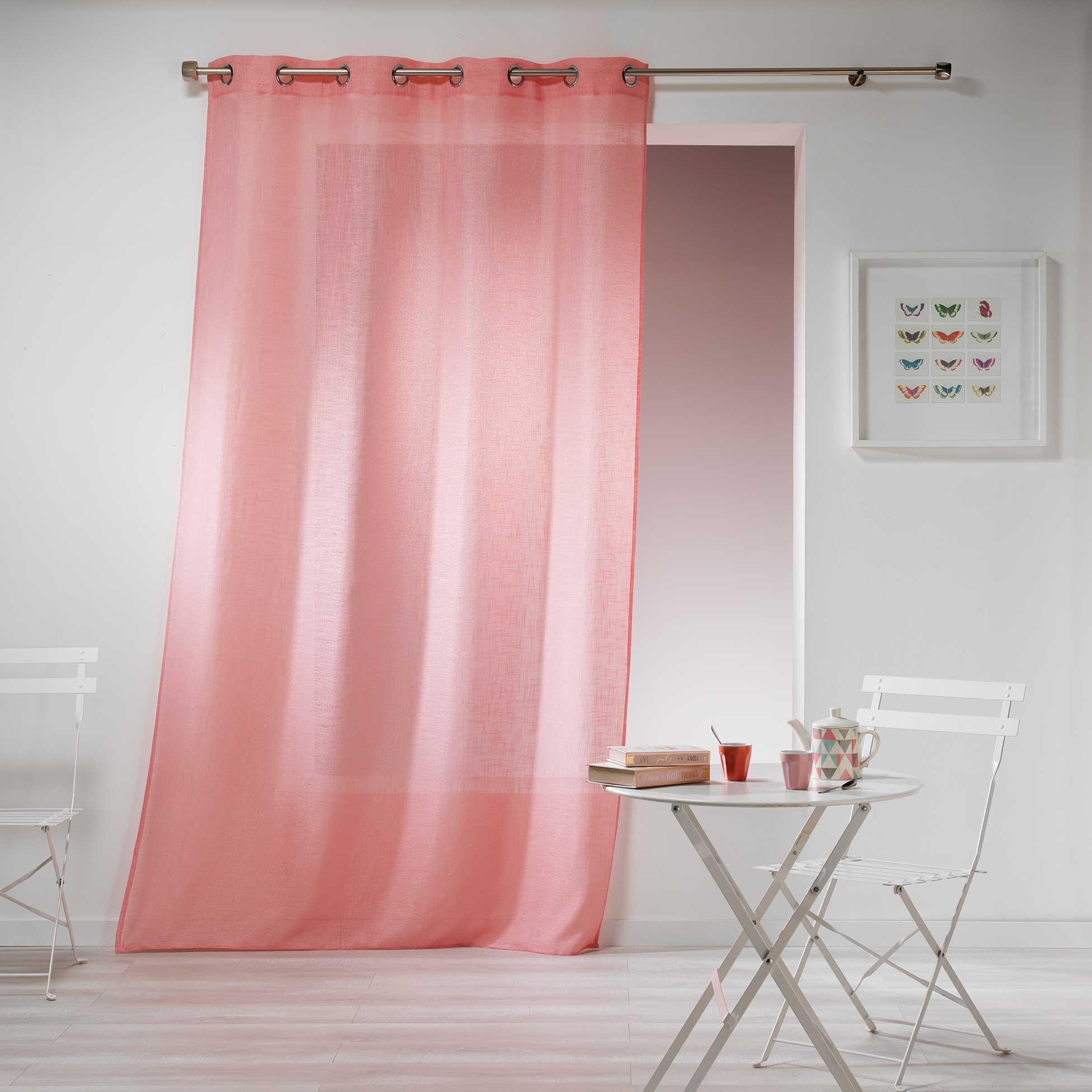 Transparent Eyelet Curtain Gaya, Powder Pink