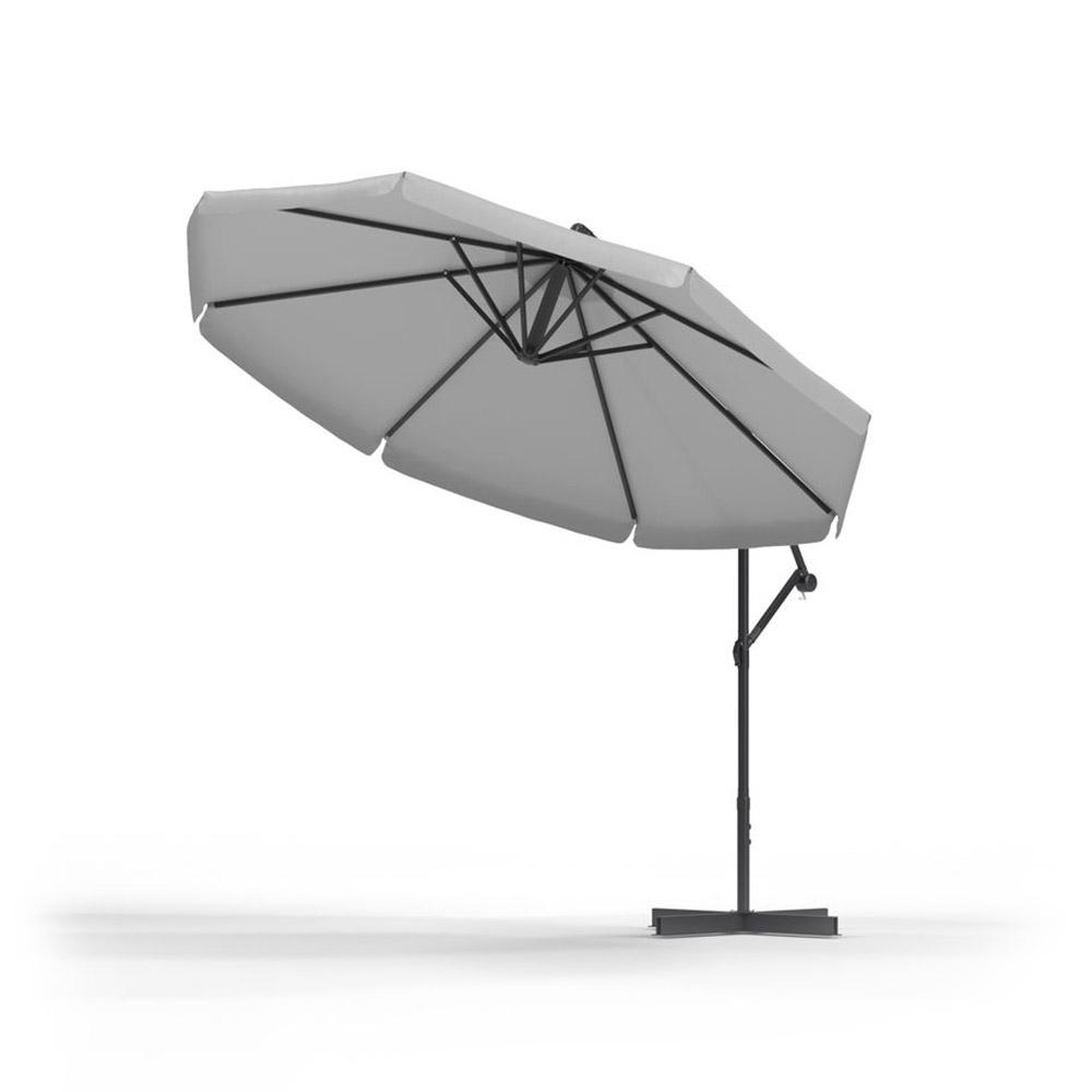 Round Garden Umbrella, 3 m, Grey