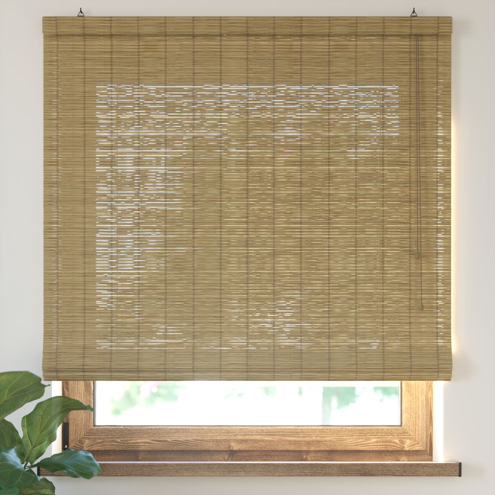 Bamboo Roman Roller Blind Ready Made, Brown