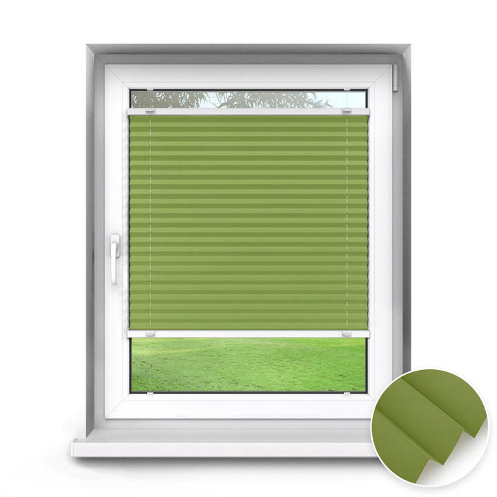 Trimmed to size Standard Pleated Blind, Carla Green