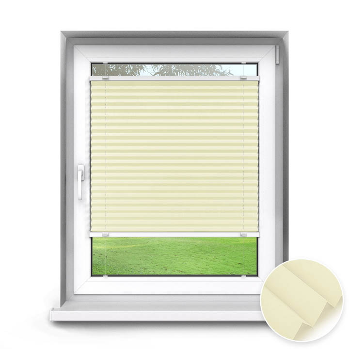 Trimmed to size Standard Pleated Blind, Cream