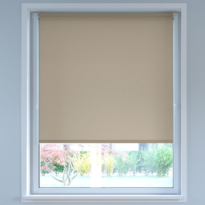 Darkening No Drill Standard Roller Blind, Light Beige