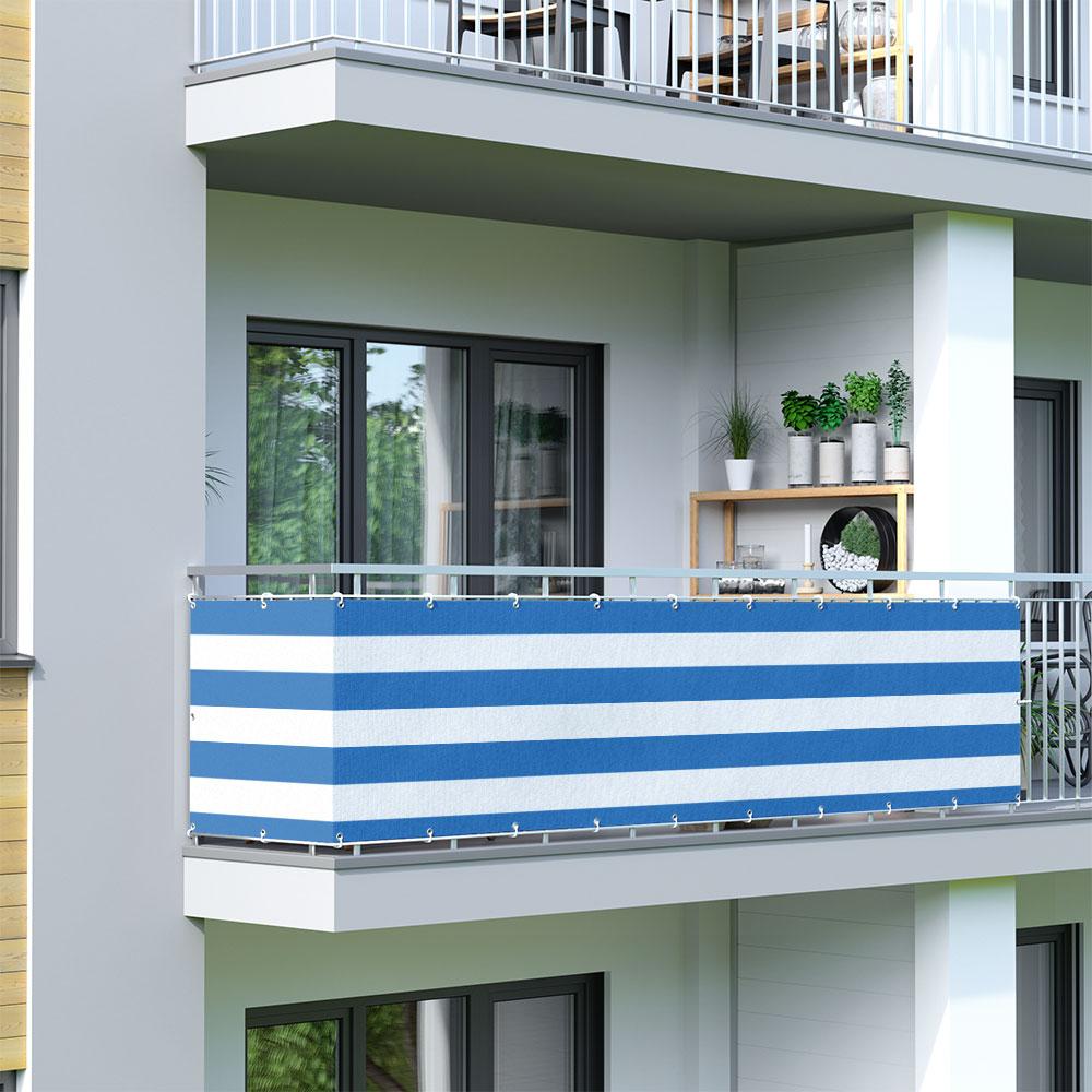 Balcony Screen, Sunshade, White-Blue