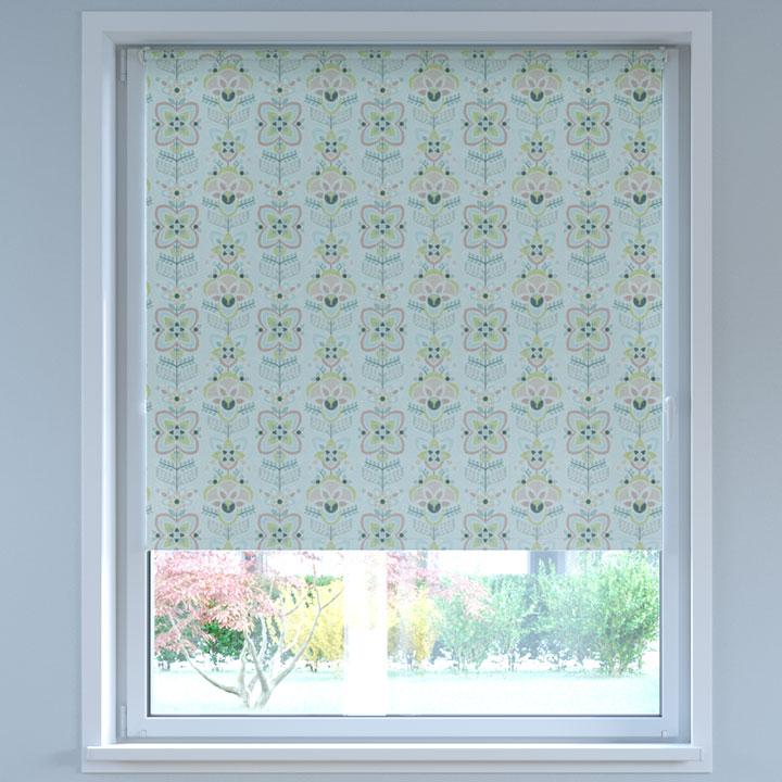 Blackout Digital Print No Drill Standard Roller Blind, Folk Rose