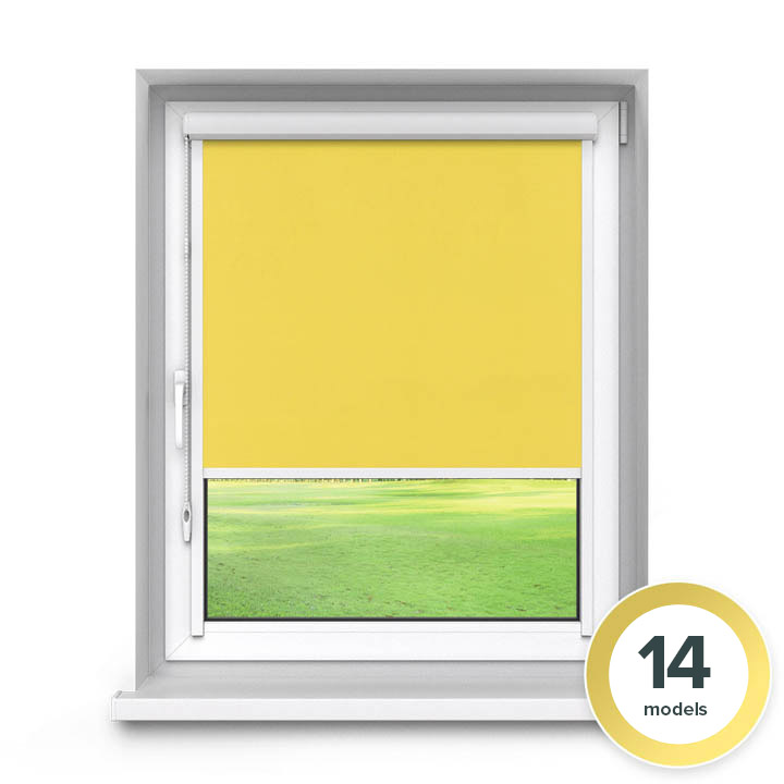 Darkening PVC PureNight Premium Roller Blind, Yellow
