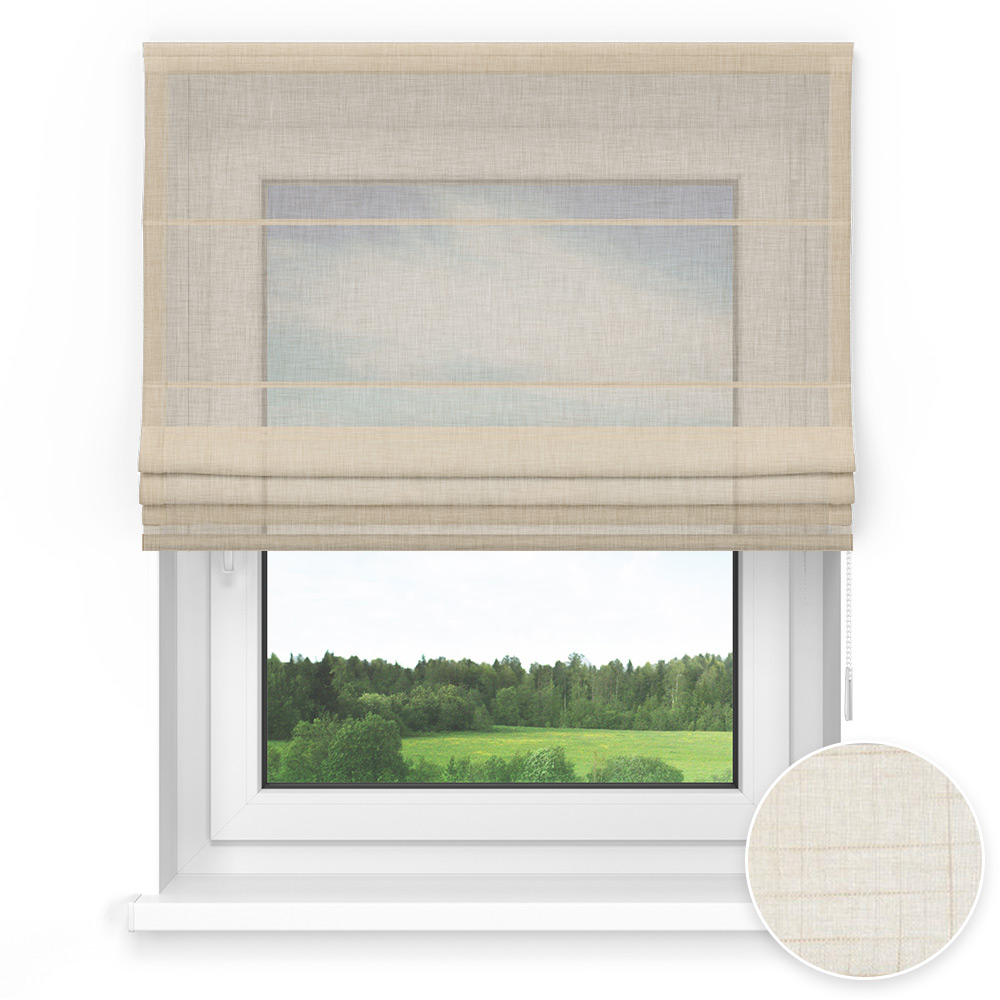 Transparent Standard Roman Blind, Shelburne Buff