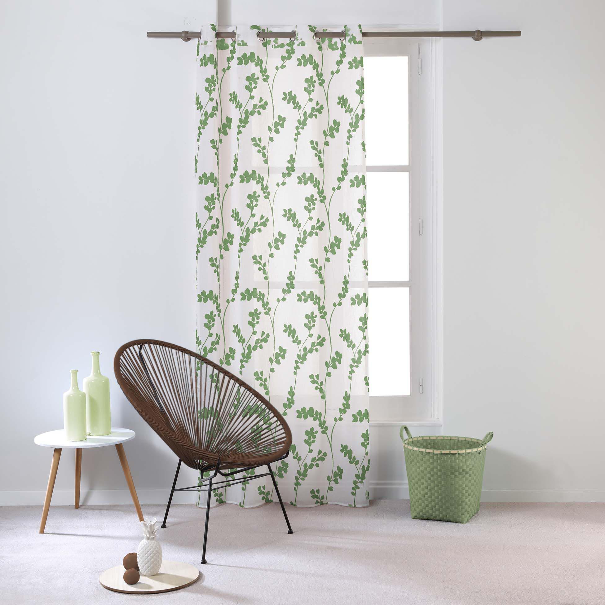 Transparent Eyelet Curtain Tilia, Green
