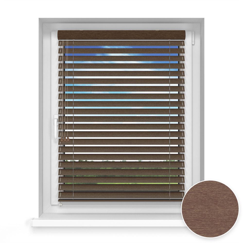 50 mm slat Wooden Blind, Cocoa