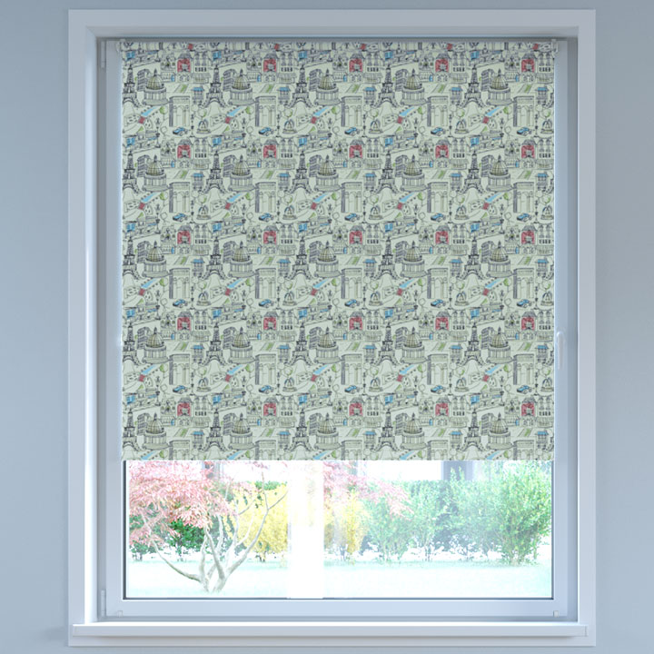 Blackout Digital Print No Drill Standard Roller Blind, Paris