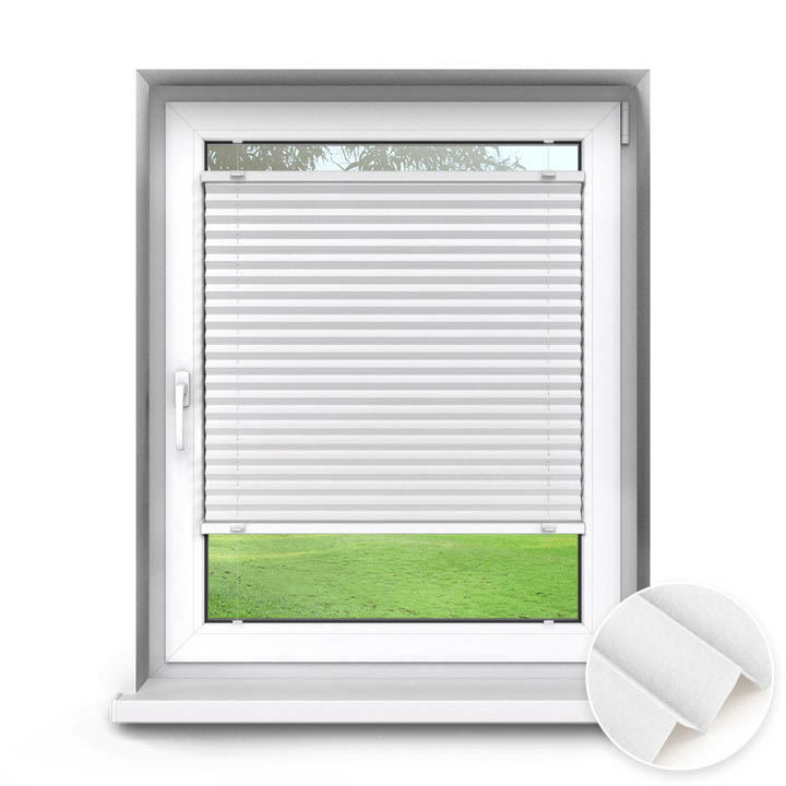 Trimmed to size Standard Pleated Blind, Sumire White